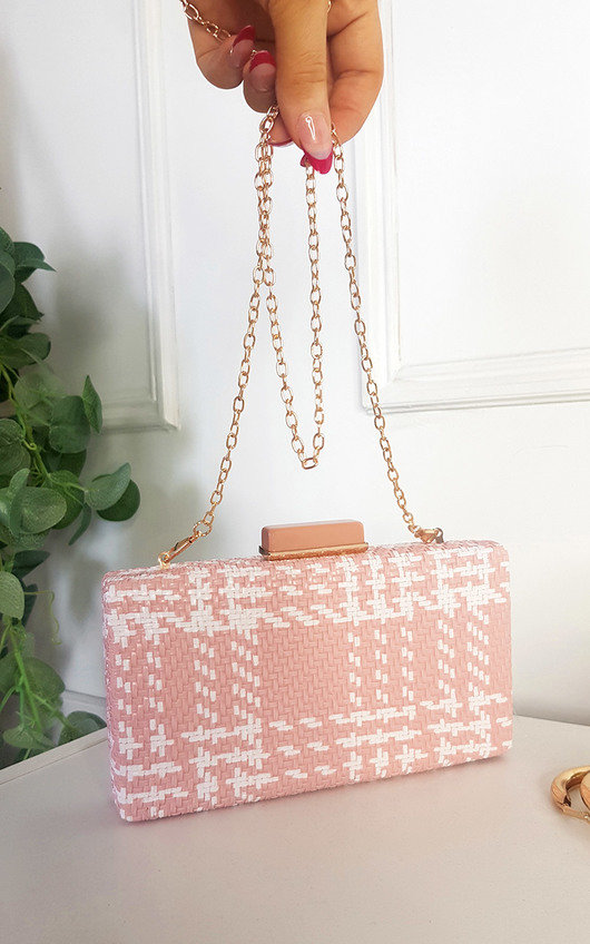 Emily Woven Box Clutch with Long Strap Detail