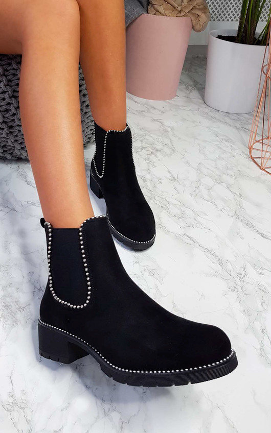 Emma Faux Suede Chunky Heel Boots