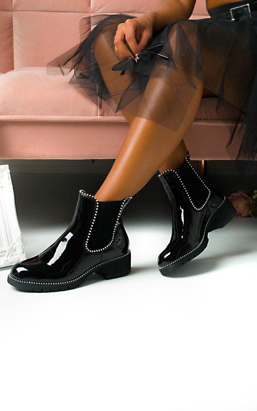 Emma Patent Chunky Heel Boots