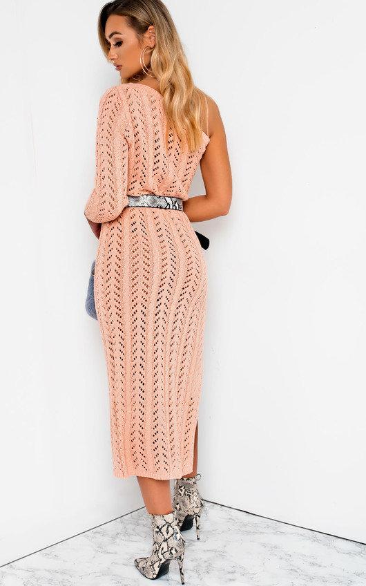 25d675b377df Emy Knitted Side Split One Shoulder Dress in Pink | ikrush