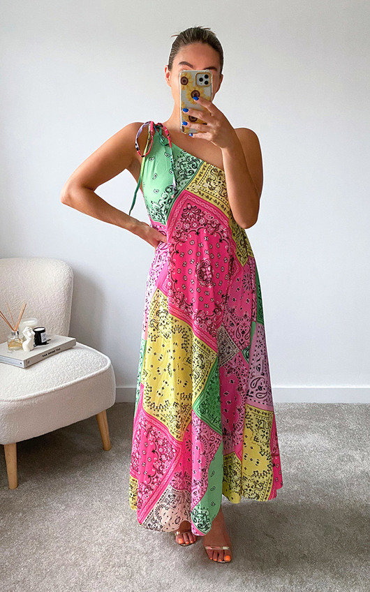 Enzo One Shoulder All Over Print Maxi Dress