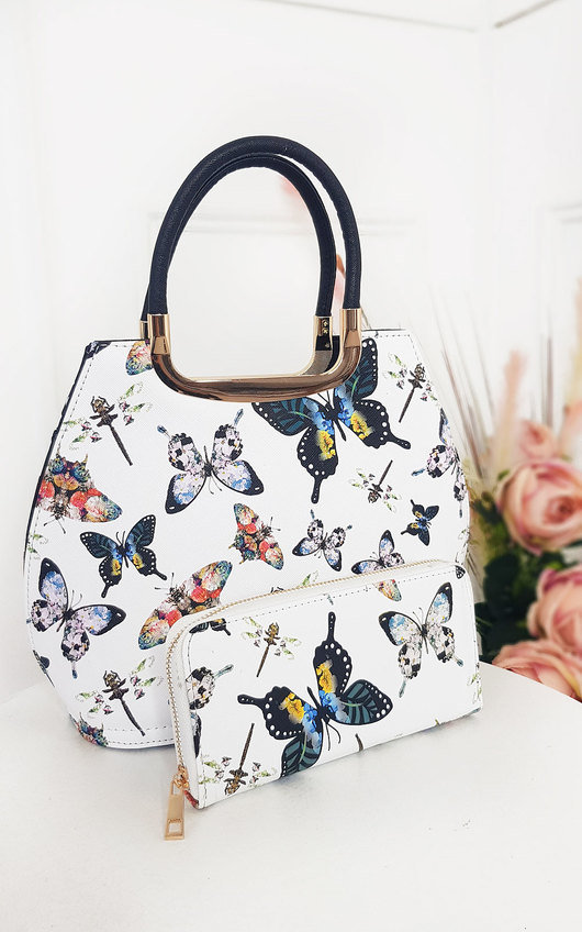 Erin Butterfly Print Handbag