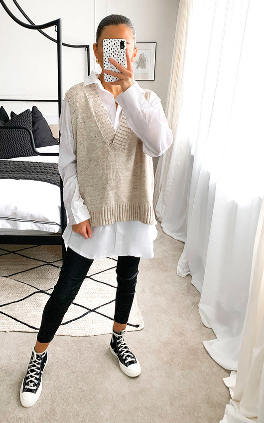 Erin Knitted Vest Over Shirt
