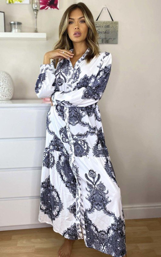 Esme Printed Button Up Maxi Dress