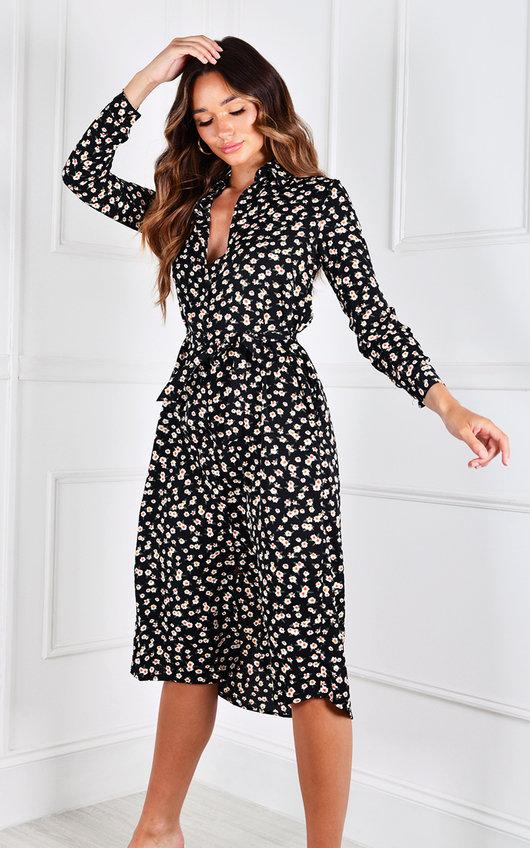 Estefania Long Sleeve V Neck Printed Midi Dress