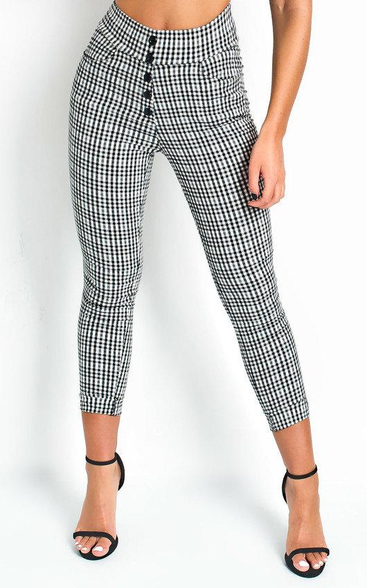 Etta High Waist Button Up Checked Trousers