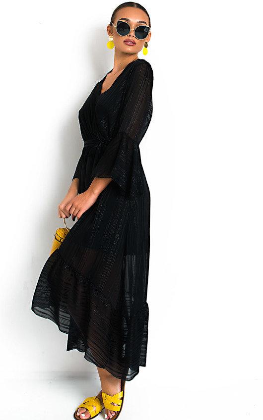 4f79dd3ea74 Etta Shimmer Frill Maxi Dress in Black