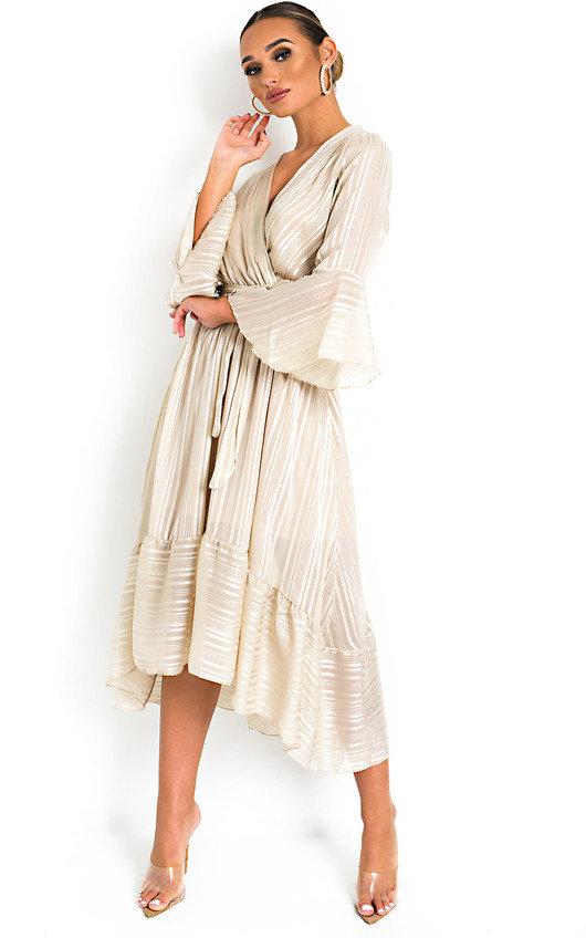 ecbb2a88bf7 Etta Shimmer Frill Maxi Dress in Stone