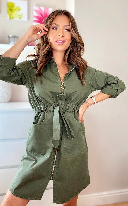 Eva Zip Up Shirt Dress