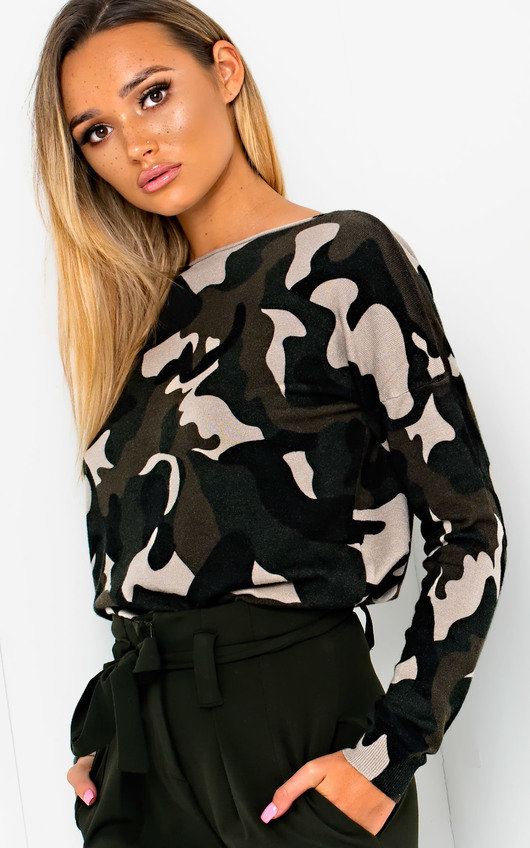 Eve Knitted Camo Print Jumper
