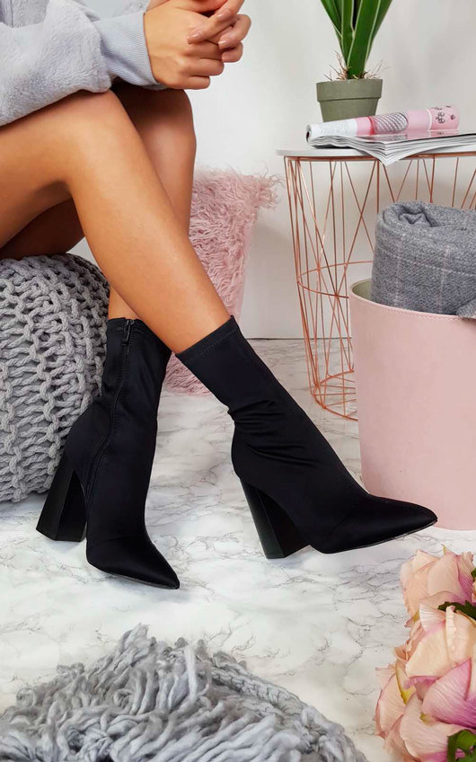 Everly Lycra Heeled Ankle Boots