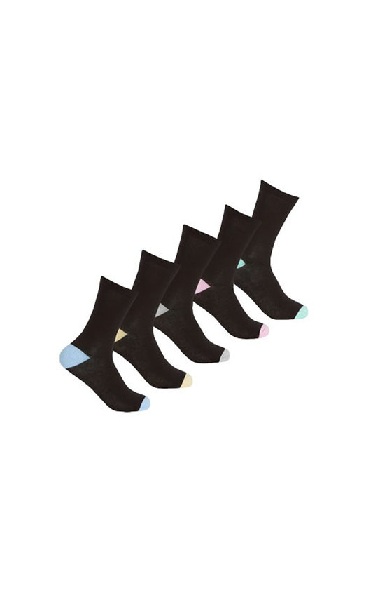 Everyday Socks Multi Pack in Black with Pastel Colour