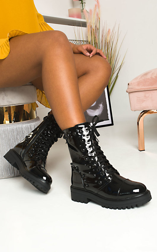 Evie Patent Studded Boots