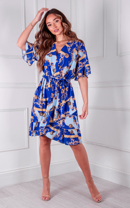 Evita Ruffle Hem Printed Dress