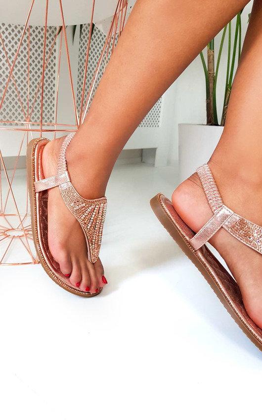Farah Diamante Embellished T-Bar Sandals