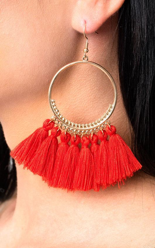 Farah Hooped Tassel Earrings