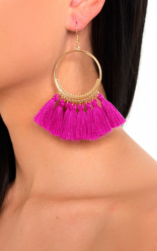 Farah Hooped Tassel Earrings