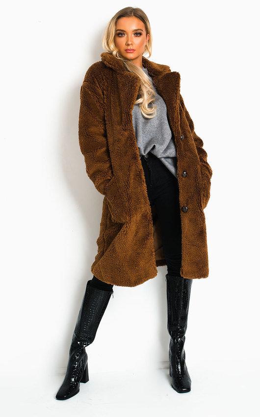 Farah Teddy Bear Maxi Coat