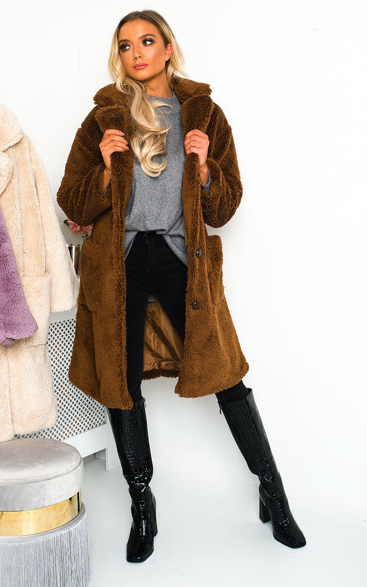 Farah Teddy Bear Maxi Coat