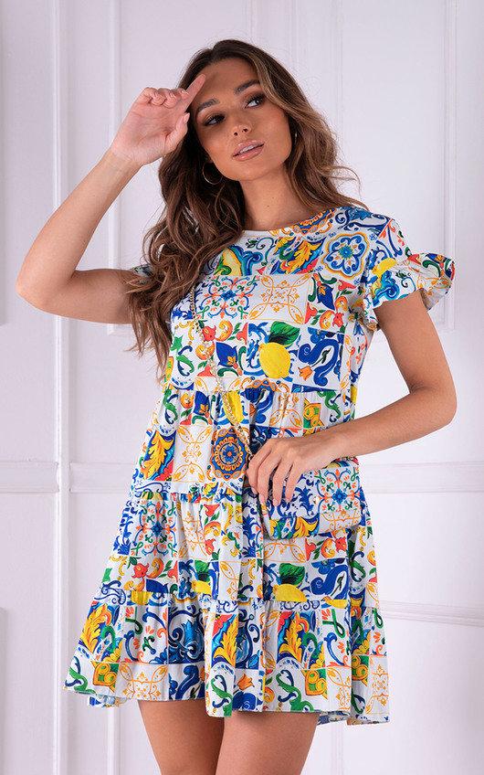 Farah Tiered Mini Dress with Matching Cross Body Bag