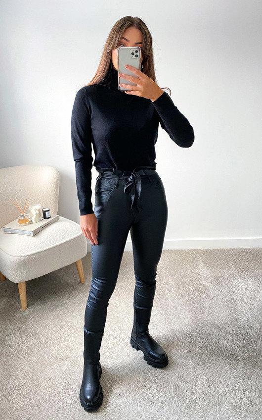 Farrah Faux Leather Paperbag Trousers