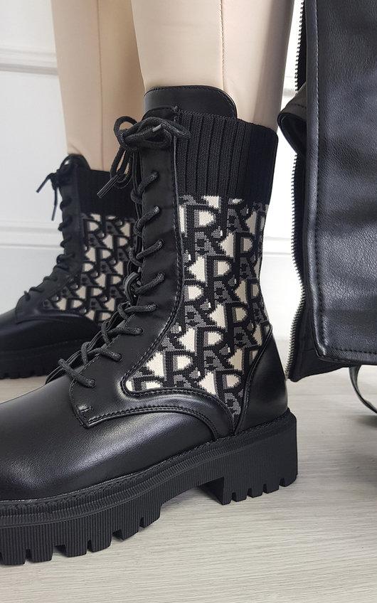 Faye Chunky Printed Mid Calf Boots