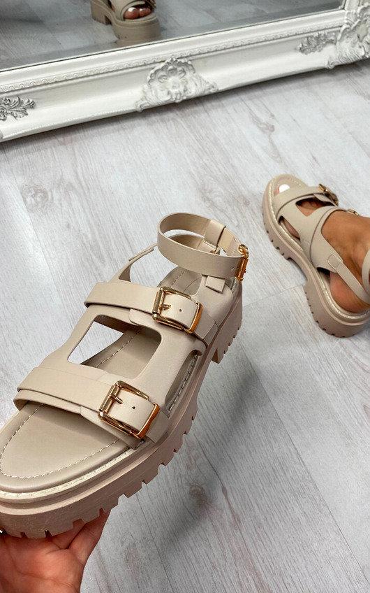 Faye Triple Strap Buckle Sandals