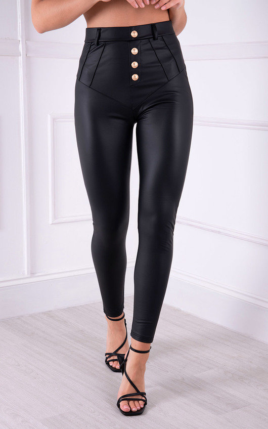 Felicia Faux Leather Button Up Trousers with Gold Button Detail