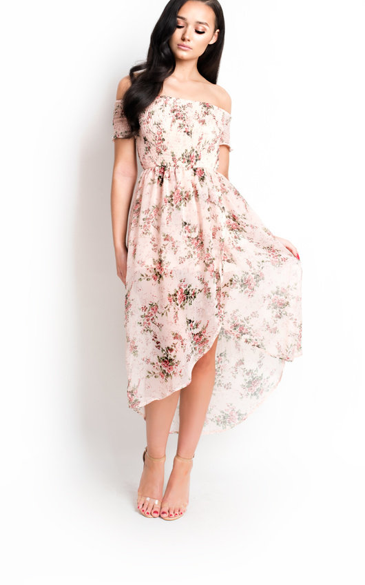 Felicity Floral Ruche Chiffon Dress