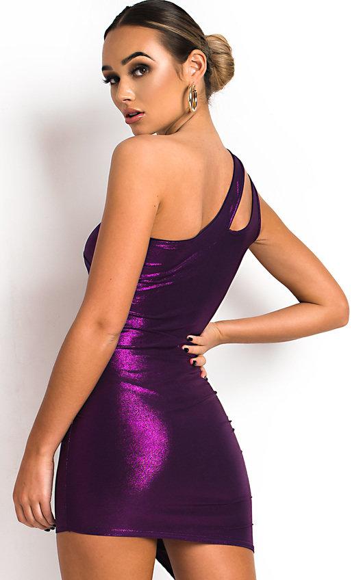 Felina One Shoulder Shimmer Mini Dress