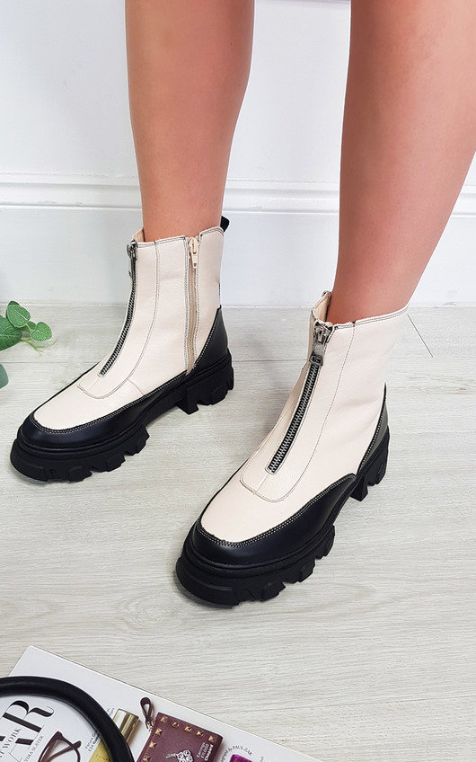 Ferne Faux Leather Zip Ankle Boot with Contrast Stitch