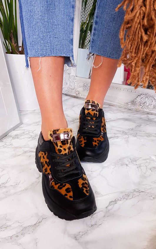 Fifi Chunky Arched Leopard Sport Trainer