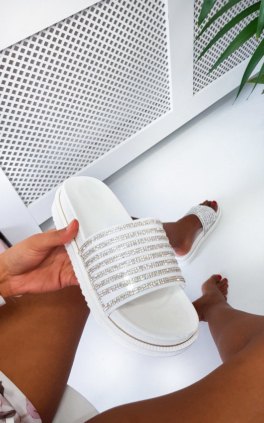 Fifi Diamante Metallic Flatform Sliders