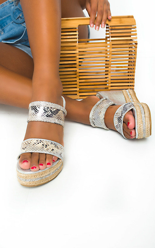 Fifi Diamante Wedged Sandals