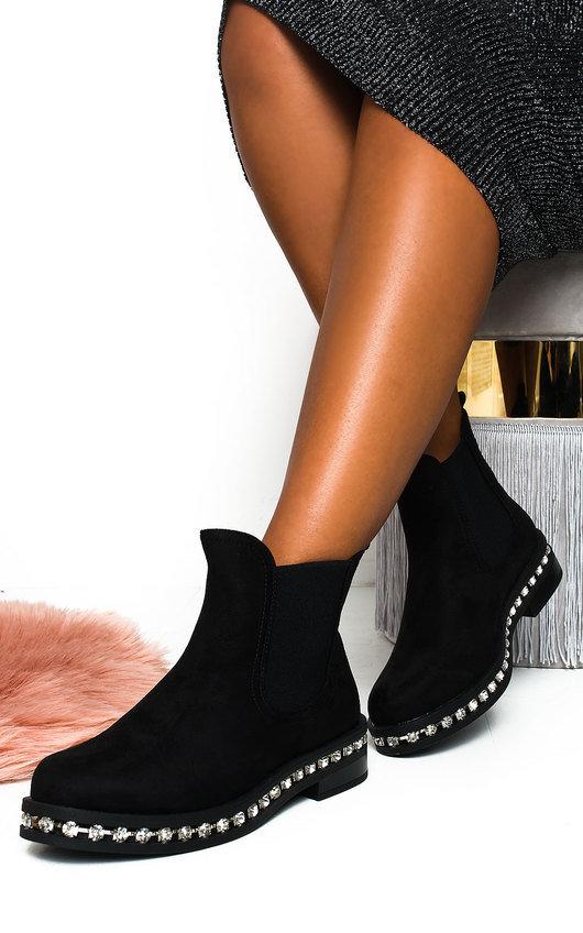 Fifi Faux Suede Diamante Chelsea Boots