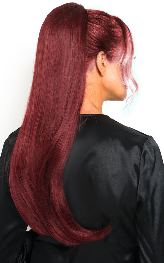 Fifi Long Straight Ponytail Hair Extensions - Burgundy