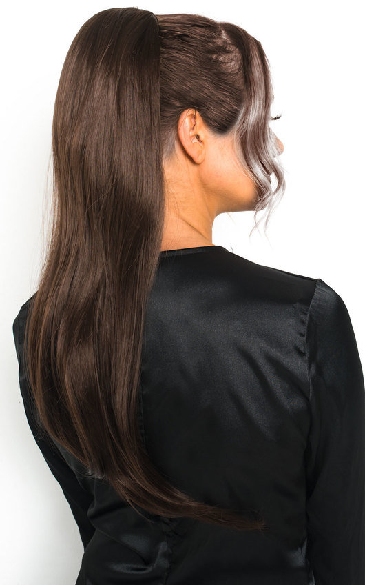 Fifi Long Straight Ponytail Hair Extensions - Choc Brown