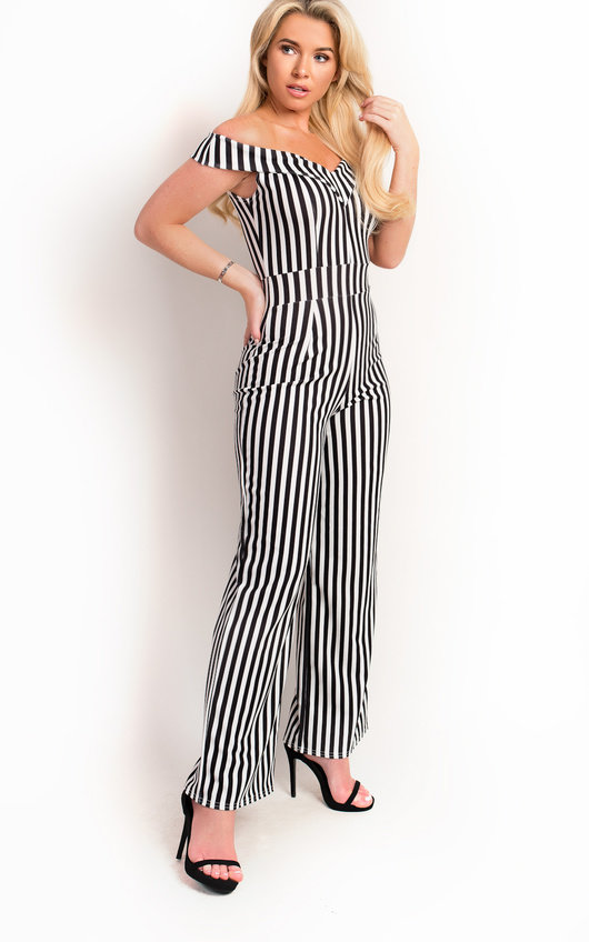 Fifi Stripe Wide Leg Off Shoulder Jumpsuit