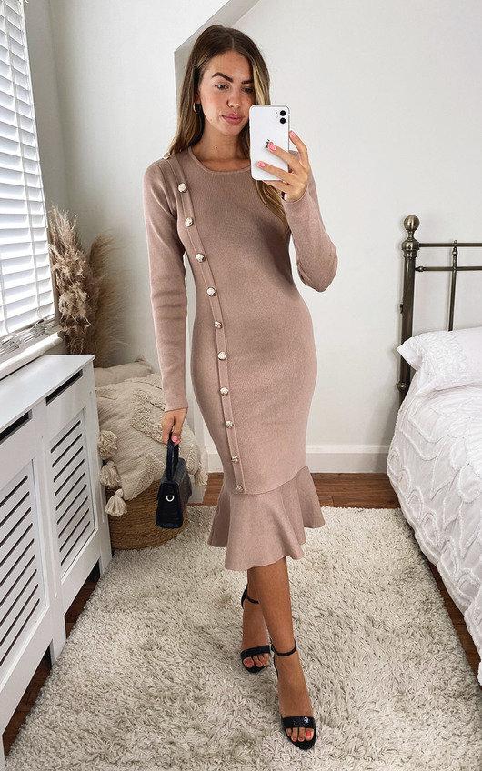 Finola Ruffle Hem Knitted Midi Dress with Button Detail
