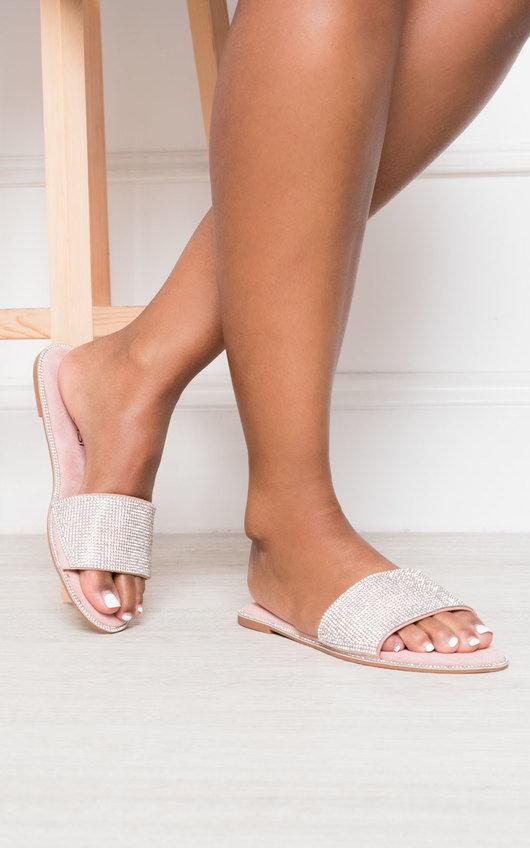 Fliss Diamante Embellished Slip On Sandals