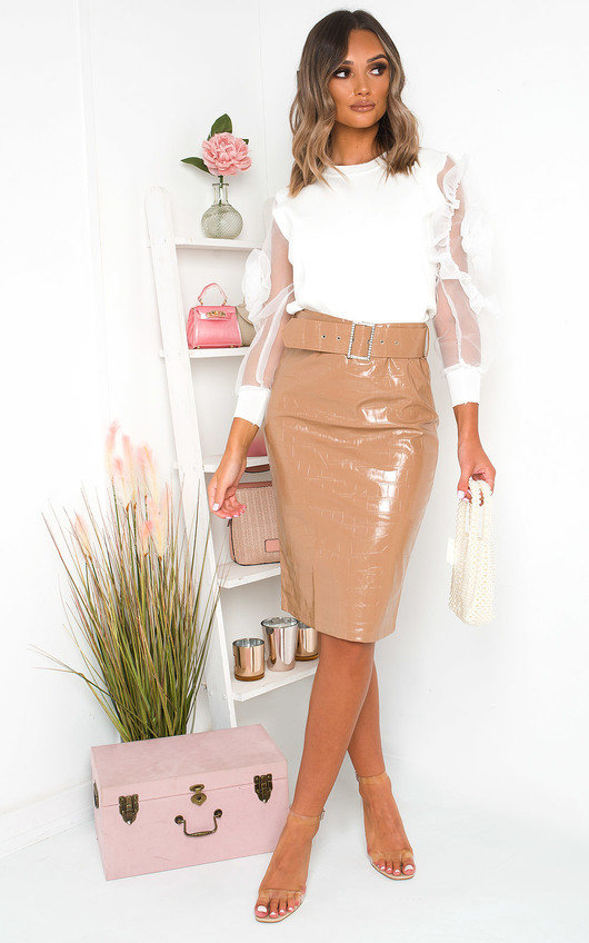 Fliss Faux Leather Midi Skirt