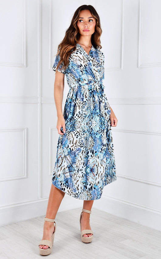 Fliss Short Sleeve V Neck Tie Waist Midi Dress