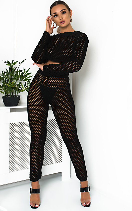 Flora Crochet Lounge Cropped Co-ord