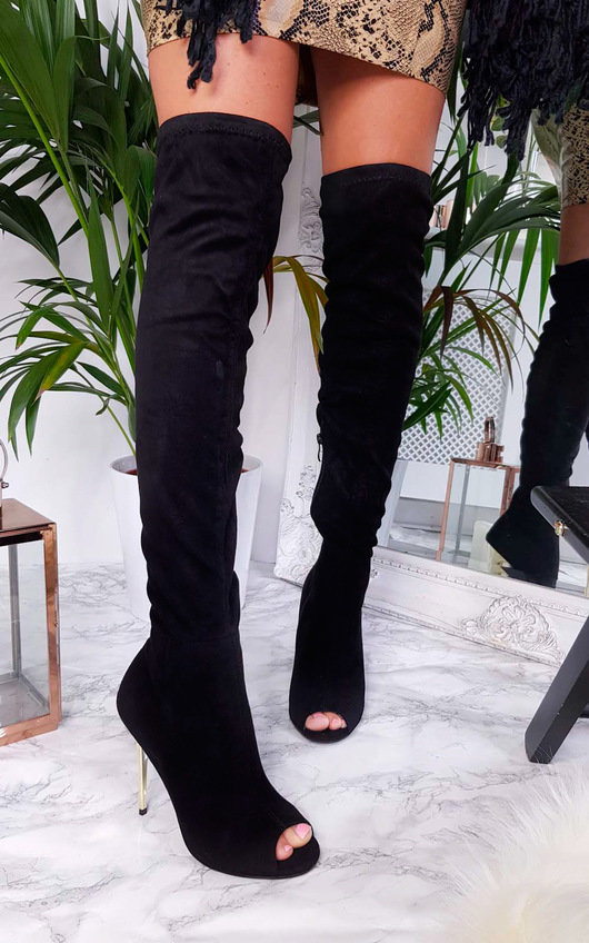 Flora Thigh High Peep Toe Boots