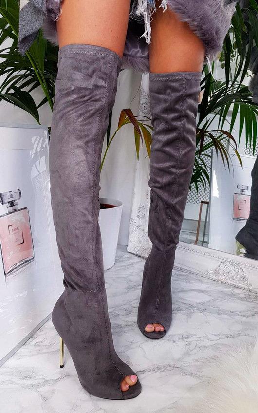 Flora Thigh High Peep Toe Boots