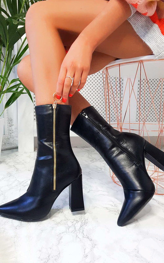 Florie Faux Leather Pointed Boots