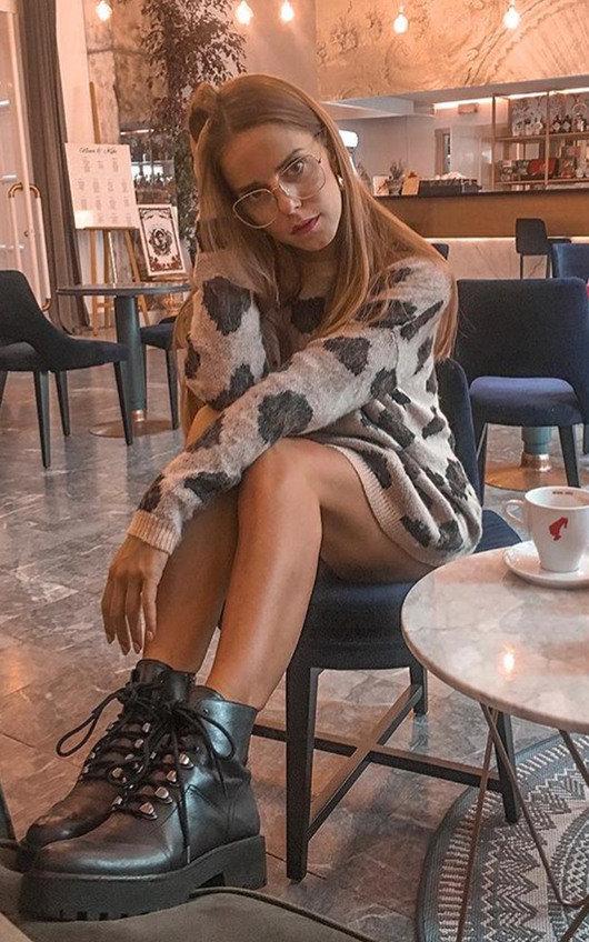 Florie Knitted Leopard Print Jumper