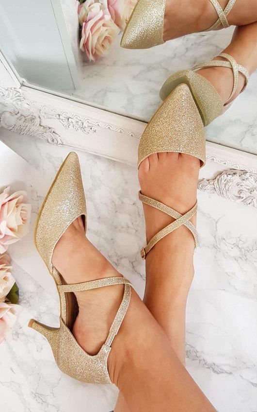 Francesca Double Ankle Strap Kitten Heels