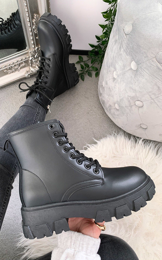 Frankie Chunky Lace Up Biker Boots