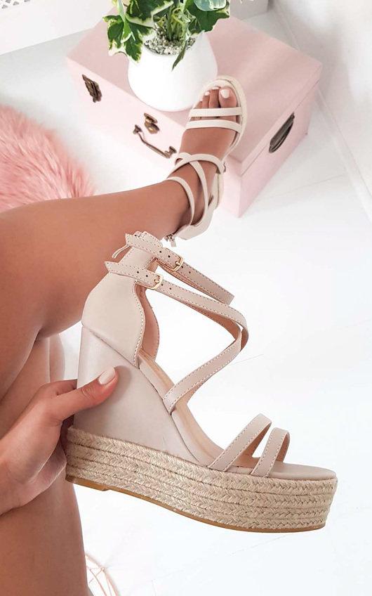 Frankie Crossover Strap Wedged Heels